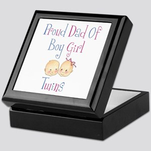 Proud Dad of Boy/Girl Twins Keepsake Box