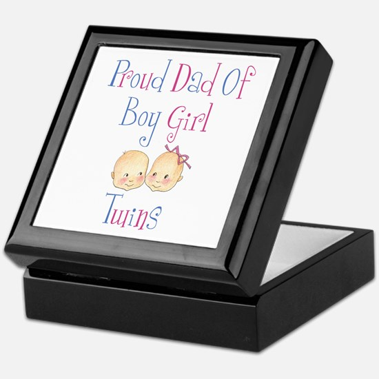 Proud Dad of Boy/Girl Twins Keepsake Box