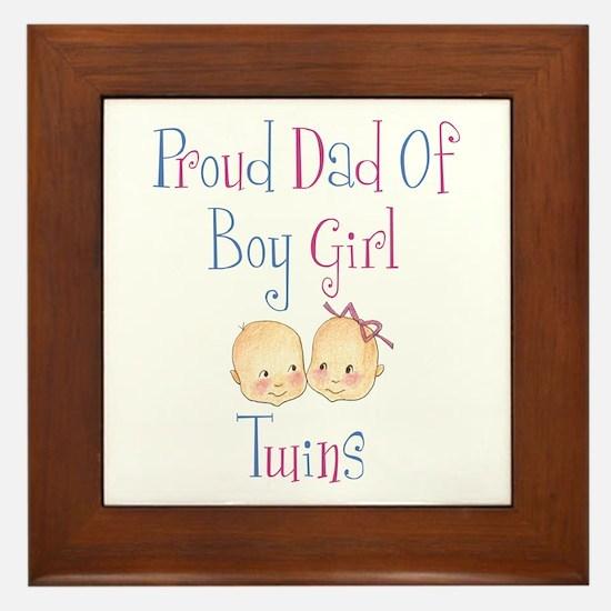 Proud Dad of Boy/Girl Twins Framed Tile