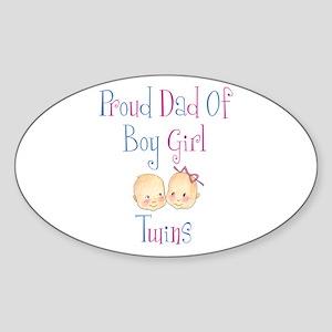 Proud Dad of Boy/Girl Twins Oval Sticker