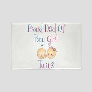 Proud Dad of Boy/Girl Twins Rectangle Magnet