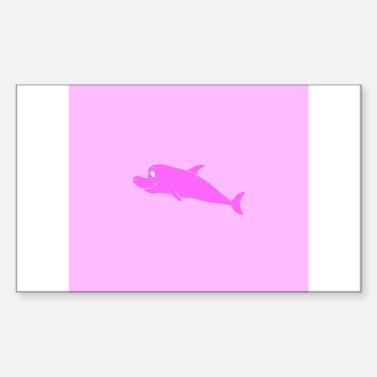 Pink Dolphin Sticker (Rectangle)