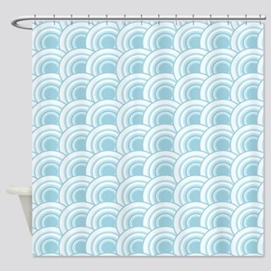 Geo Scales Blue Shower Curtain