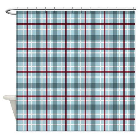 Plaid Basic Blue Red Shower Curtain