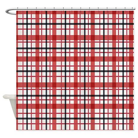 Plaid Basic Red Shower Curtain