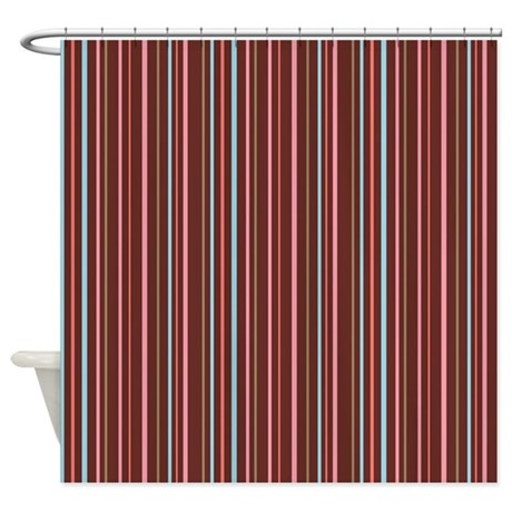 stripes brown pink shower curtain by admin cp45405617. Black Bedroom Furniture Sets. Home Design Ideas