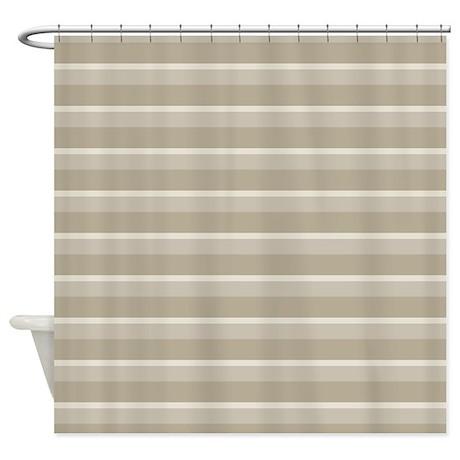 Stripes Horizontal Power Taupe Shower Curtain