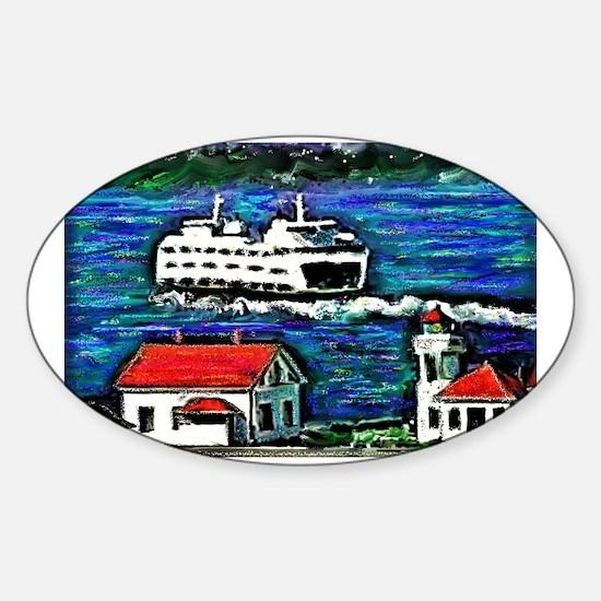 Cute Mukilteo lighthouse Sticker (Oval)