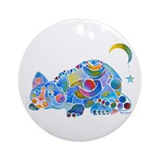 Cat of Moon and Stars Ornament (Round)