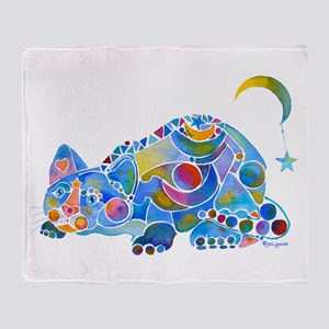 Cat of Moon and Stars Throw Blanket