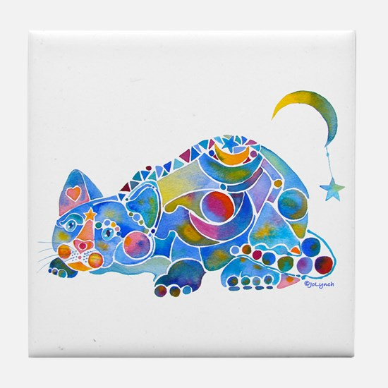 Cat of Moon and Stars Tile Coaster
