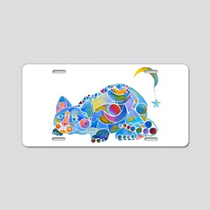 Cat of Moon and Stars Aluminum License Plate