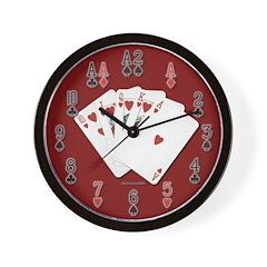 Royal Flush Red Wall Clock