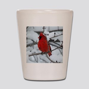 Snow Cardinal Shot Glass