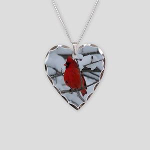 Snow Cardinal Necklace Heart Charm