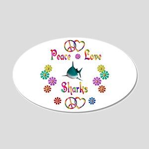 Peace Love Sharks 22x14 Oval Wall Peel