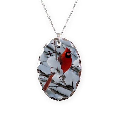 Snow Cardinal Necklace Oval Charm