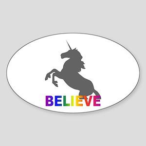 Believe in Unicorns Sticker (Oval)