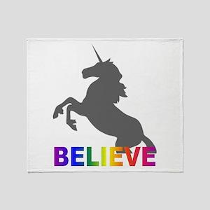 Believe in Unicorns Throw Blanket