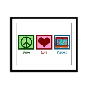 Peace Love Puppets Framed Panel Print