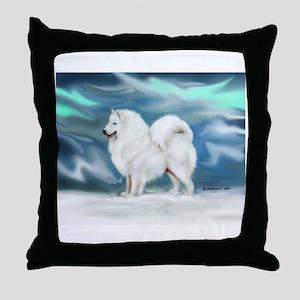 Samoyed and Northern Lights Throw Pillow