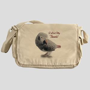 African Grey Parrot Holiday Messenger Bag