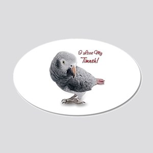 African Grey Parrot Holiday 22x14 Oval Wall Peel
