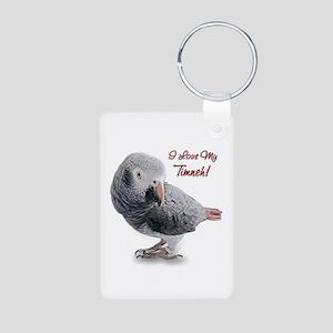 African Grey Parrot Holiday Aluminum Photo Keychai