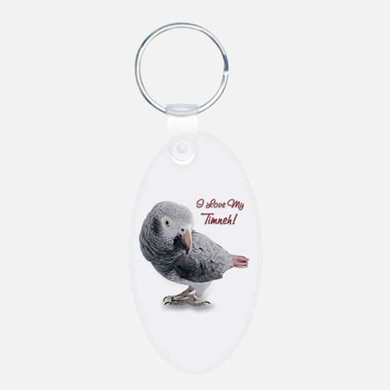 African Grey Parrot Holiday Keychains