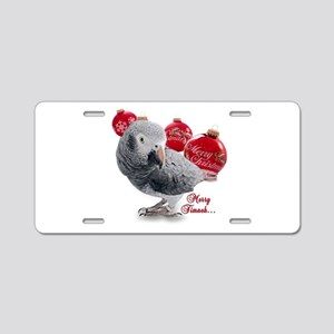 African Grey Parrot Holiday Aluminum License Plate