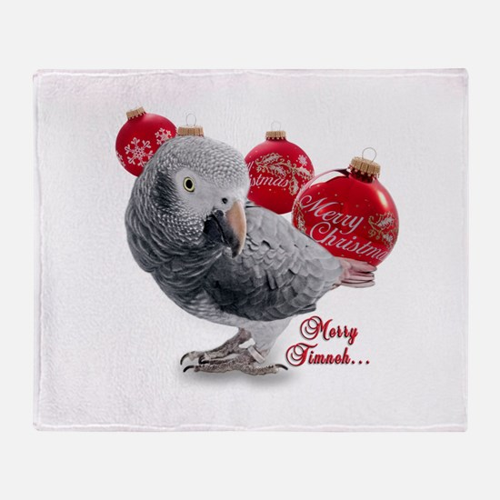 African Grey Parrot Holiday Throw Blanket