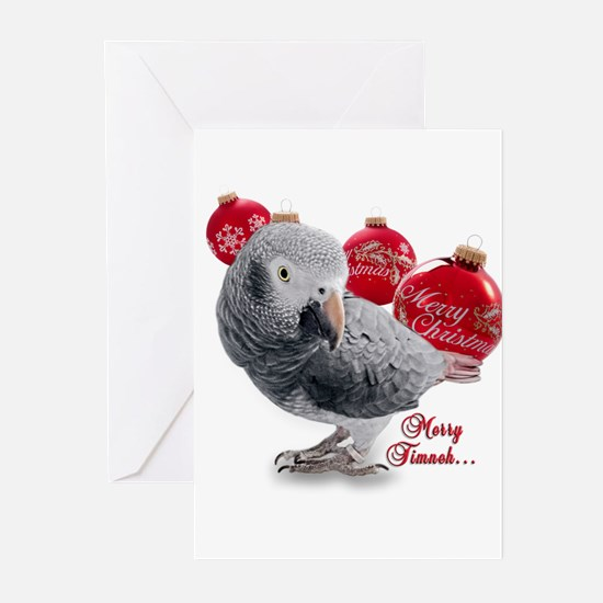 African Grey Parrot Holiday Greeting Cards (Pk of