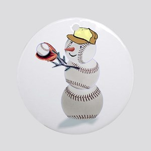 Baseball Snowman Ornament (Round)