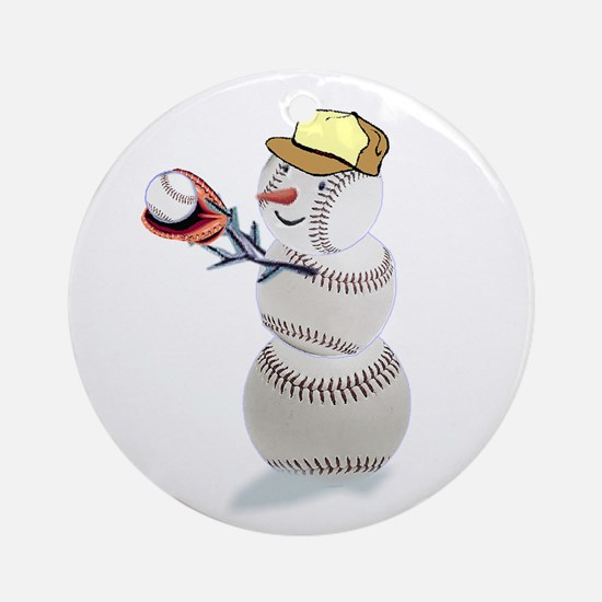 Baseball Snowman Ornament (Round)