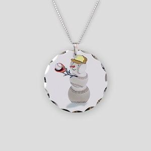 Baseball Snowman Necklace Circle Charm