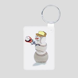 Baseball Snowman Aluminum Photo Keychain