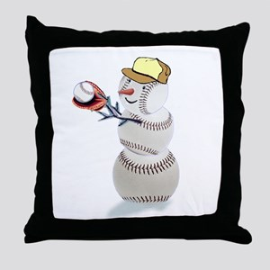 Baseball Snowman Throw Pillow