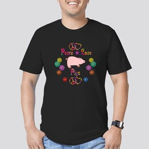 Peace Love Pigs Men's Fitted T-Shirt (dark)