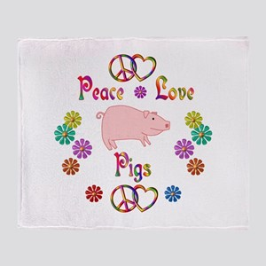 Peace Love Pigs Throw Blanket