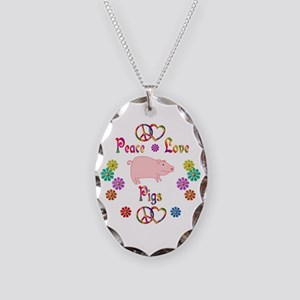 Peace Love Pigs Necklace Oval Charm