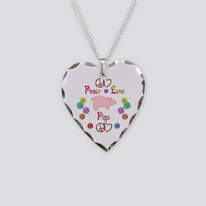 Peace Love Pigs Necklace Heart Charm