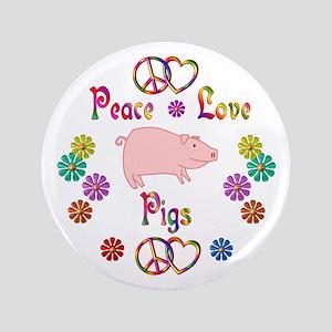 "Peace Love Pigs 3.5"" Button"