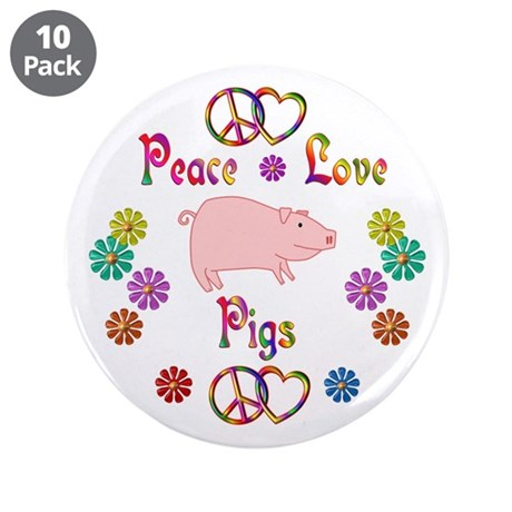 """Peace Love Pigs 3.5"""" Button (10 pack)"""