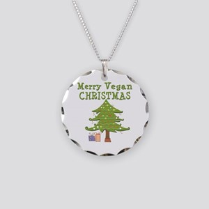 Merry Vegan Christmas Necklace Circle Charm