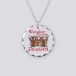 Vegan Holiday Necklace Circle Charm