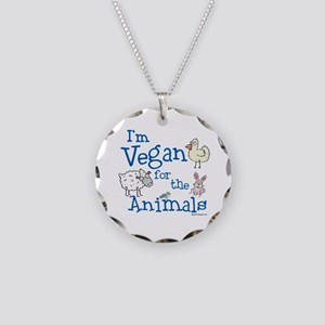 Vegan for Animals Necklace Circle Charm