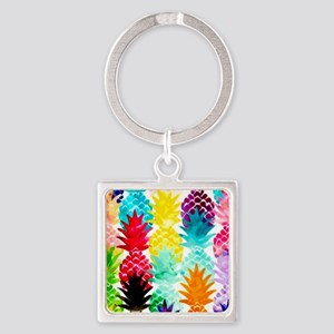 Colorful Tropical Pineapple Pattern Keychains