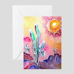 Saguaro Cactus, bright, art Greeting Card