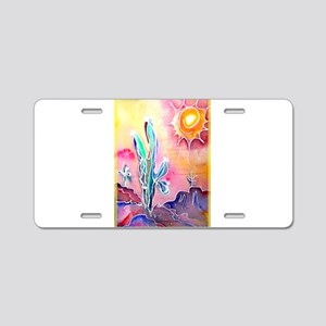 Saguaro Cactus, bright, art Aluminum License Plate