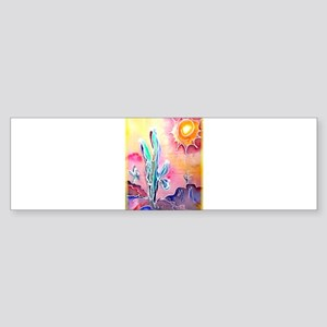 Saguaro Cactus, bright, art Sticker (Bumper)